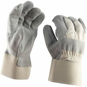 case Of 12 Quality Split Leather Palm Work Glove Large Safety Cuff