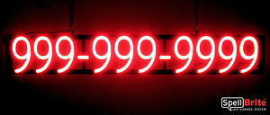 Spellbrite Ultra bright 10 Digit Phone Number Sign Neon led Sign neon Look