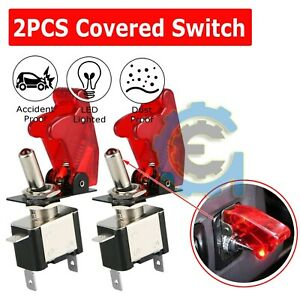 2x C1 Red Cover Led 12v 20a Light Rocker Toggle Switch Spst On Off Car Truck