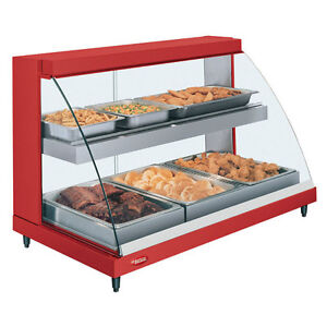 Hatco Grcd 3pd Countertop Heated Display W Curved Glass And 3 Pan Dual Shelves