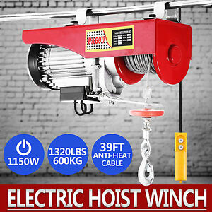 Electric Hoist Winch Lifting Engine Crane Garage Hanging Cable Lift Hook 600kg