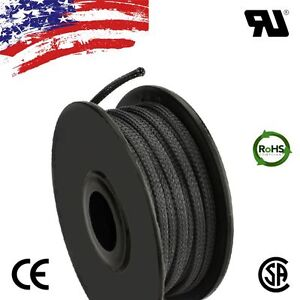 50 Ft 1 8 Black Expandable Wire Cable Sleeving Sheathing Braided Loom Tubing Us