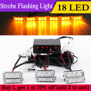 18 Led Strobe Dash Emergency Flashing Warning Lights For Car Truck Yellow Amber