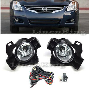 Fog Lights Bumper Lamps Kit Clear For 2010 2012 Nissan Altima 4dr Sedan Fl7062