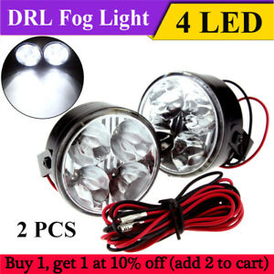 2x 4 Led Round Daytime Driving Running Light Drl Car Fog Lamp Head Lights