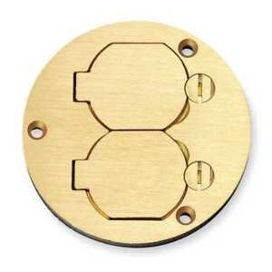 2 gang Round Floor Box Cover Brass Hubbell Wiring Device kellems S3925