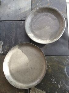 Two Circa 17th Century Pewter Chargers Primitive