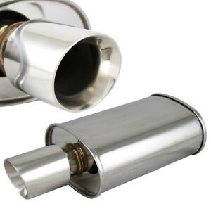 Polished Spun locked Exhaust Oval Muffler Double Wall 3 5 Slant Tip 2 5 Inlet