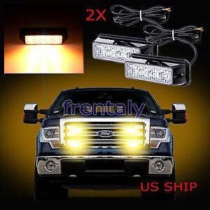 2x 4 Led Car Truck Emergency Beacon Light Bar Hazard Strobe Warning Yellow Amber