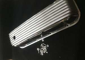 Polished Nostalgic Finned Big Block Chevy Bbc Valve Cover Tall 396 427 454 502