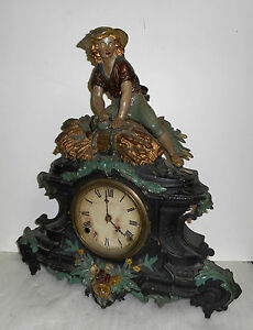 Rare Antique Original Kroeber 8 Day Chime Painted Iron Front Clock Working