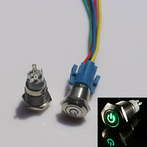 16mm 12v Car Green Led Metal Push Button Toggle Switch Socket Plug For Car Truck