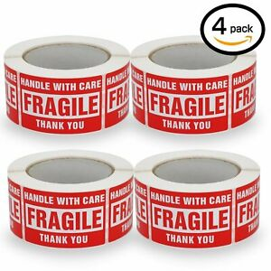 4 Rolls 500 roll 3 X 5 Fragile Stickers Handle With Care Shipping Mailing Labels