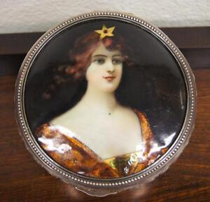 French 900 Silver Painted Enamel Plaque Large Dresser Box Circa 1910