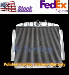 Kks Polished 3 Row Aluminum Radiator Fit 55 56 57 Chevy Bel Air 6 Cylinder Only