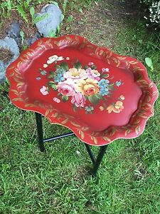 Vintage Red Hand Painted Antique Chippendale Floral Fireplace Mantle Tole Table