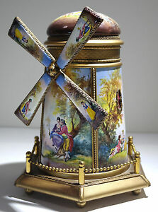 Austrian Painted Large Gilt Bronze Enamel Windmill Form Music Box 20th Century