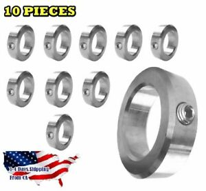 1 Bore Stainless Steel Shaft Collars Set Screw Style 10 Pcs