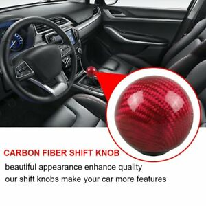 Kylin Red Carbon Fiber Gear Shift Knob Round Ball Shape Fit Universal Car