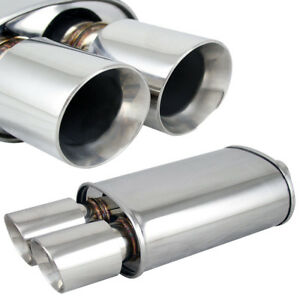 Polished Spun locked Exhaust Oval Muffler Double Wall Dual Slant Tip For Honda