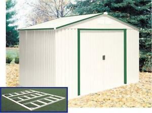 Duramax 10x8 Delmar Metal Shed Kit W Foundation Ivory W Green Trim 50212