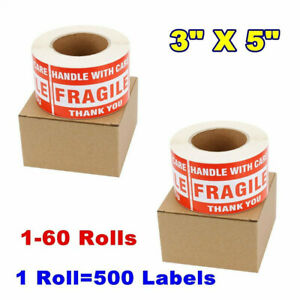 3x5 Large Fragile Stickers Handle With Care Mailing Label 500 roll Free Shipping