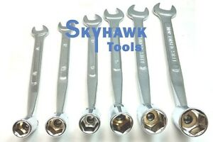 New 6pc Flex Flexible Head Double Ended Socket Spanner Open Wrench Set Metric