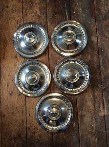 Chevy Silver Classic Impala Chevelle Dog Dish Poverty Hubcaps 9 1 2