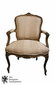 Antique 19th Century French Country Carved Rocco Fauteuil Chair Baroque Arm