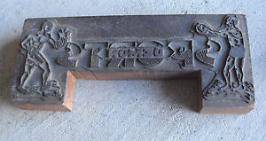 Unusual Vintage Wood Metal Letterpress Block For Demon Sports Basketball Boxing