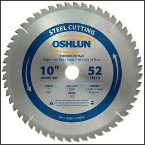 Oshlun Sbf 100052 10 inch 52 Tooth Tcg Saw Blade With 1 Arbor 5 8 Bushing