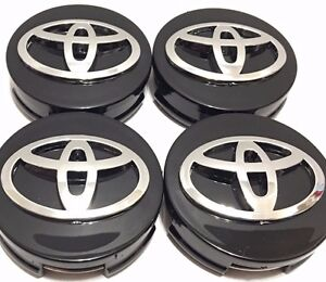 4 Pcs Wheel Emblem Center Hub Caps Toyota Black 62 Mm