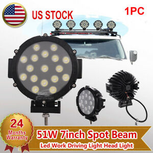 7 51w Cree Led Round Spot Work Driving Fog Light Offroad 4wd Truck Boat Lamp
