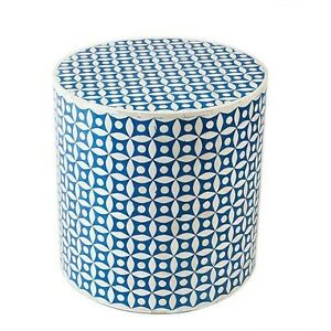 Indian Bone Inlay Drum Table Blue