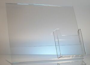 25 Acrylic 11 X 8 1 2 Slanted Sign Holders With 4x9 Tri fold Brochure Holder