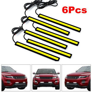 12v Led Strip Drl Daytime Running Lights Fog Cob Car Lamp White Day Driving Usa