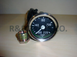 Temperature Gauge For Willys Mb Jeep Ford Cj Gpw Black Dial Chrome Bezel