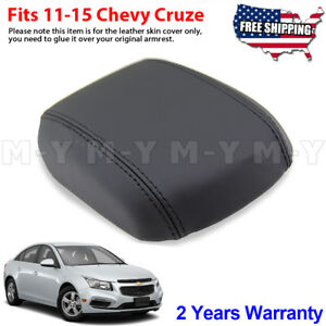 Fits 2011 2015 Chevy Cruze Leather Console Lid Armrest Cover Black