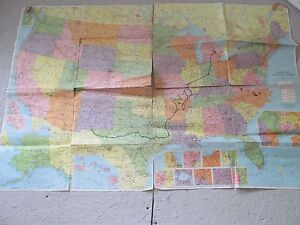 Vintage United States Map American Map Co Large Wall 48 X 33 Colorprint