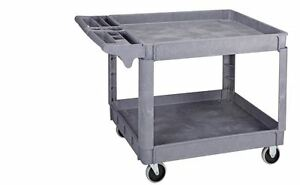 Polypropylene Industrial Service Cart 36 In X 24 In Utility Tool Storage Push