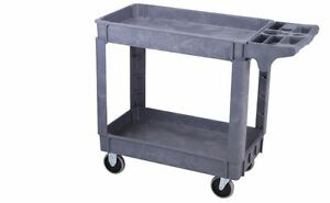 2 Shelf Polypropylene Industrial Service Cart 30 In X 16 In Utility Tool Push