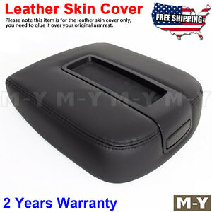 Fits 07 13 Chevy Tahoe Suburban Yukon Leather Console Lid Armrest Cover Black