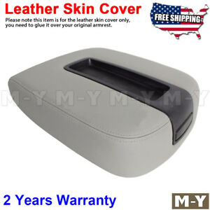 Fits 07 13 Chevy Tahoe Suburban Yukon Leather Console Lid Armrest Cover Gray