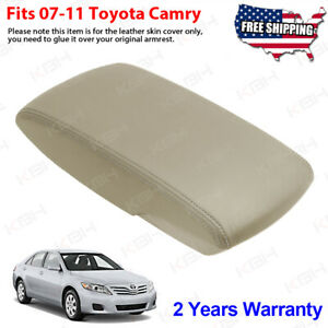 Fits 2007 2011 Toyota Camry Leather Center Console Lid Armrest Cover Tan Beige