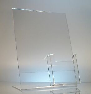10 Acrylic 8 1 2x11 Slanted Sign Holders With 4x9 Tri fold Brochure Holder