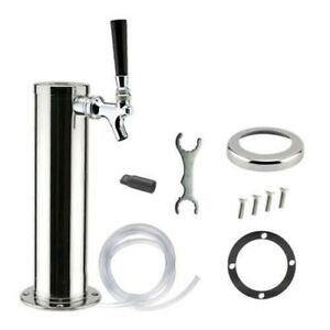 Stainless Steel Single Faucet 1 Tap Draft Beer Coffee Beverage Tower 12 Tall