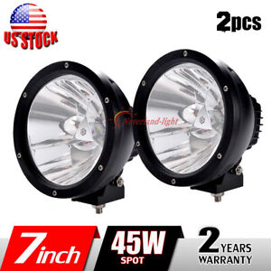 2x 7inch 45w Led Work Light Spot Round Driving Fog Lamp Offroad Tractor Suv 4x4
