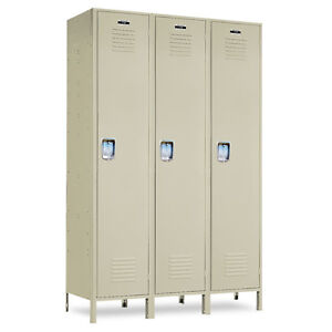Single tier Metal School Lockers 54 w X 24 d X 72 h 78 h W legs 3 Openings
