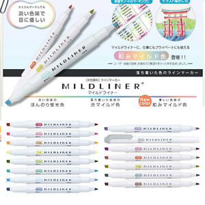 Zebra Mildliner Highlighter Marker Double sided Round Toe oblique 15 Colors Set