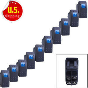 10 X Waterproof Marine Boat Car Rocker Switch 12v Spst On Off 4pin 4p Blue Led